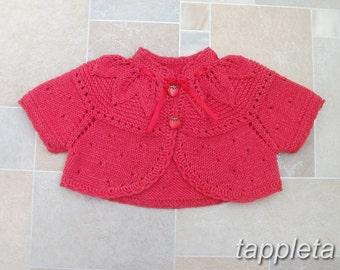 Bolero baby girl, knitted baptism bolero, newborn short sleeve white bolero, red christmas sweater, cotton bolero, romantic sweater baby