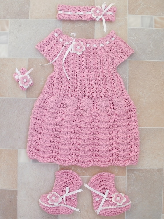 a38a42d919da pink dress baby girl coming home outfit knitted dress socks
