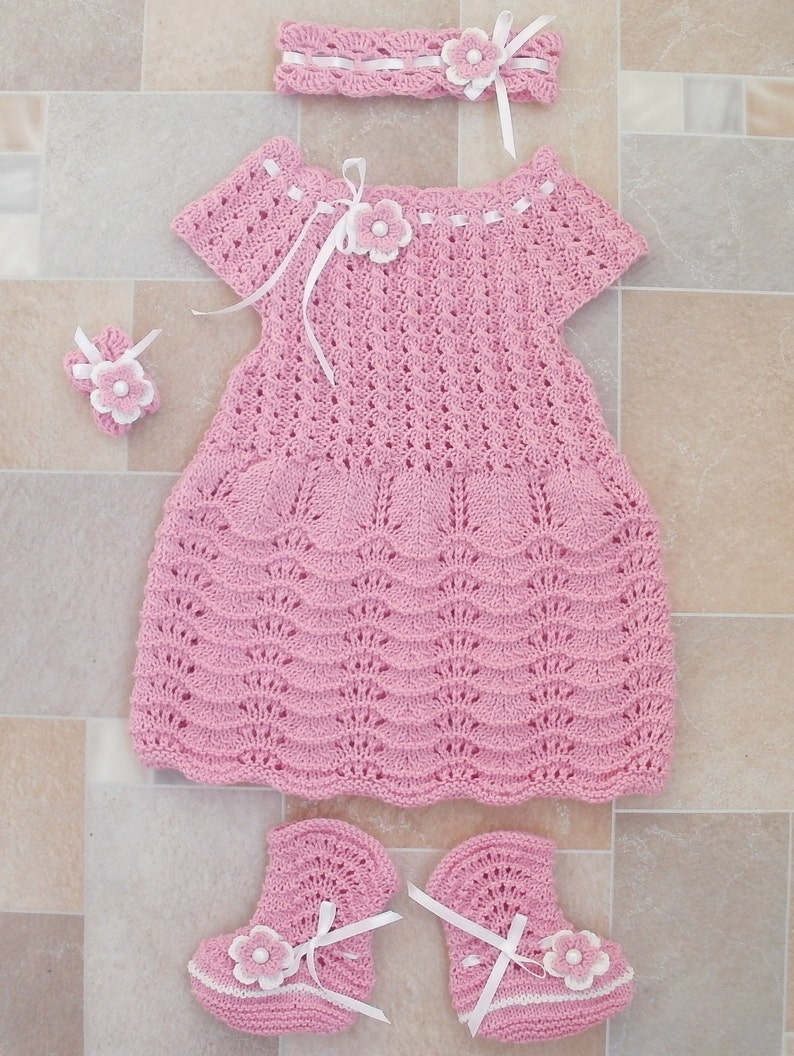 0a2284078 Pink dress baby girl coming home outfit knitted dress socks
