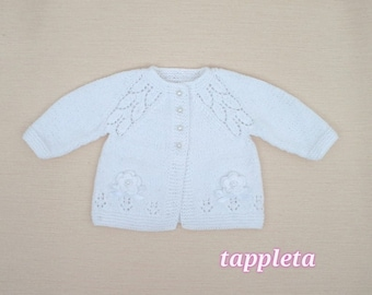 white baby cardigan, baptism sweater for girl, babygirl clothes, christening cardigan, baby sweater white, pink cardigan, baptismal clothes
