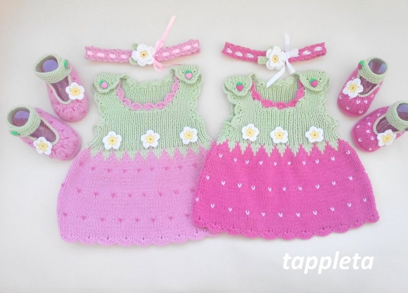 knitted tunic babyshower gift newborn outfit strawberry dress baby photoshoot pink Strawberry baby girl costume booties and headband