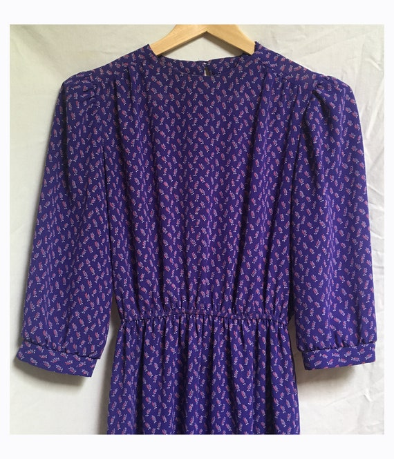 Sheer puff sleeve 1980's ditsy floral dress