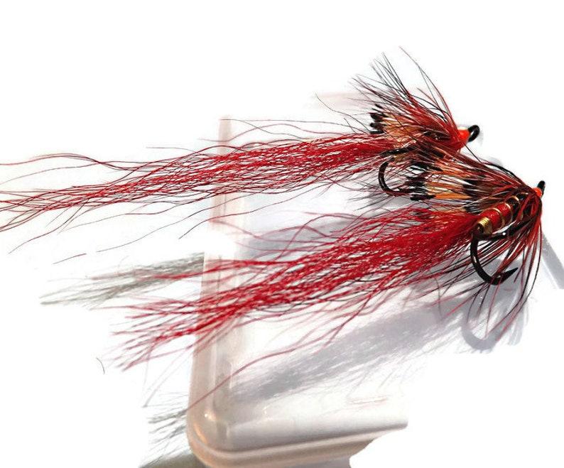 4 x Ally/'s Shrimp Orange #10 Double Hook Salmon Flies for Fly Fishing