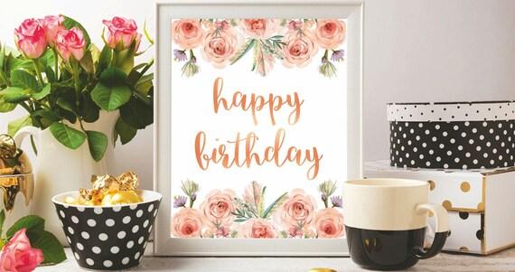 Glücklich Geburtstag Karten zum Ausdrucken Blumen Aquarell   Etsy