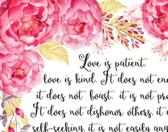 Verset Biblique Mariage Citations Bible Verset Wall Art Chretien Impression D Art L Amour Est Patient Amour Est Genre 1 Corinthiens 13 4 8 Fleurs