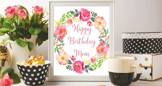 Happy Birthday Cards For Mom Printable Anniversary Birthday Etsy