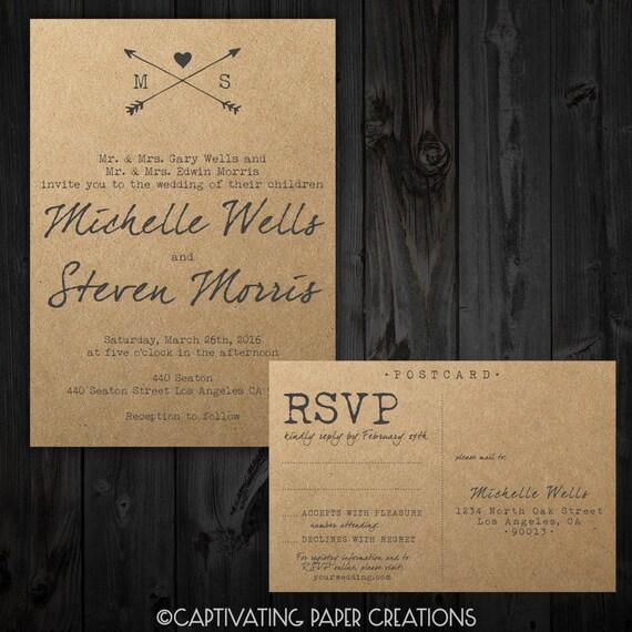 Typewriter Wedding Invitation Set Etsy