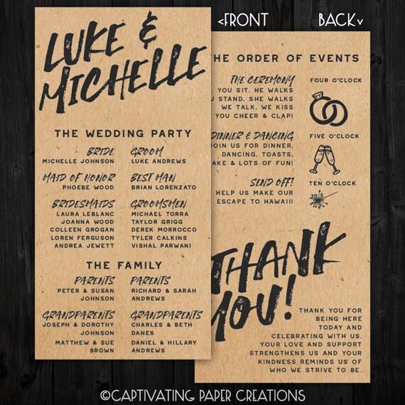 Urban Kraft Paper Wedding Program