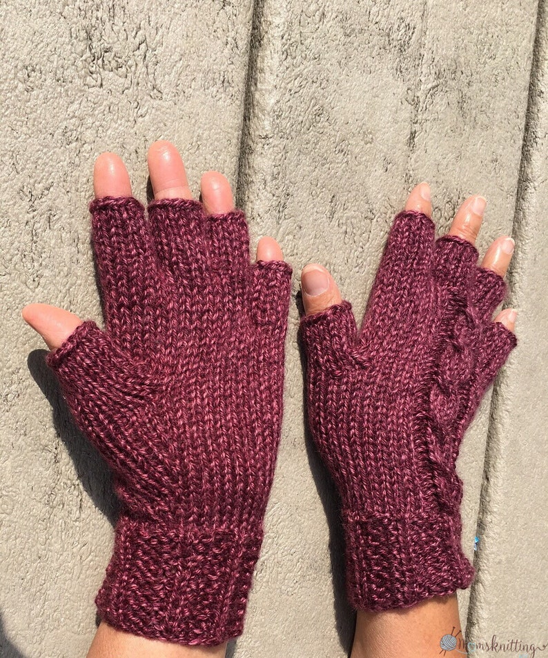 KNIT PATTERN UNISEX Half Finger Gloves Short Fingers Cable ...