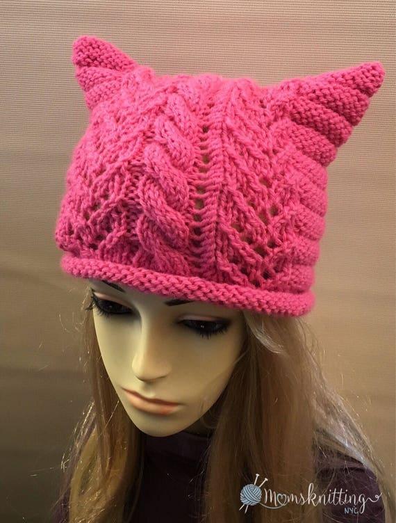 Pdf Pattern Knit Cat Pink Hat Animal Hat Woodland Girls Etsy