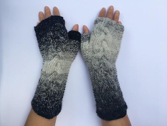 Cashmere Wool Fingerless Gloves Half Finger Arm Warmer Grey Gray Elbow Long