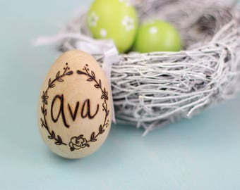 Personalized Wood Easter Egg - Easter Egg - Easter Decoration - Easter Wreath Design - Easter Bunny - Easter Gift - First Easter Gift