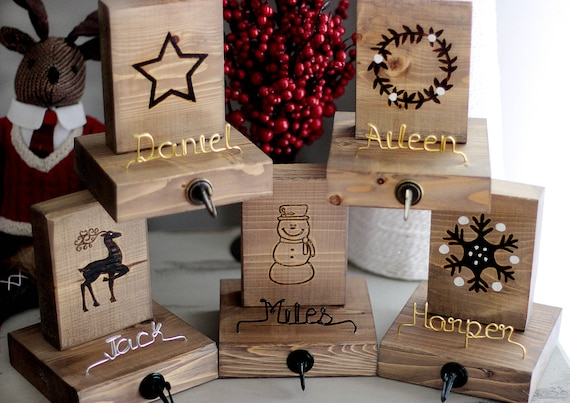 Christmas Stocking Hangers For Fireplace.Personalized Stocking Holders Wooden Stocking Hangers