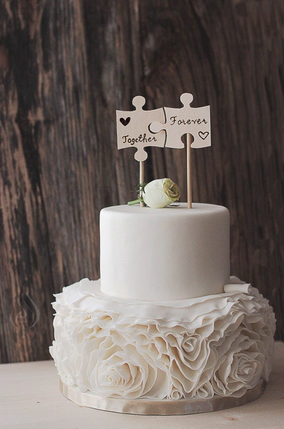 rustic wedding cake toppers canada rustic cake topper puzzle pieces woodsy cake woodsy etsy 19582