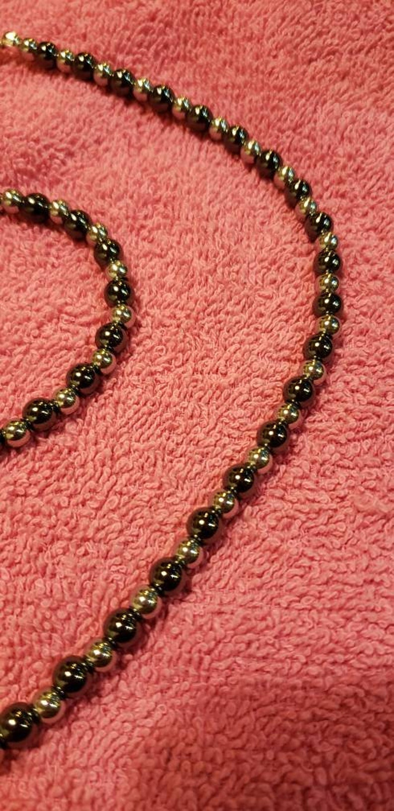 Natural Hematite and Stainless Steel Necklace Set