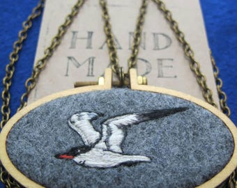 A CUSTOM Embroidery Design for a Wearable Hoop Art. An Embroidery Necklace featuring Nature's Flora and Fauna of Your choice. UK handmade.