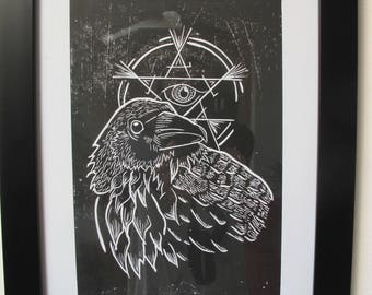 Wiccan Raven Print, Woodcut Print, Goth print, Woodblock print, All Seeing Eye, Sacred Symbols Prints, Goth Art, Witch Art, A4