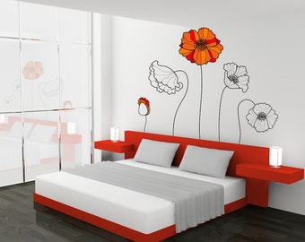 poppies wall decal set