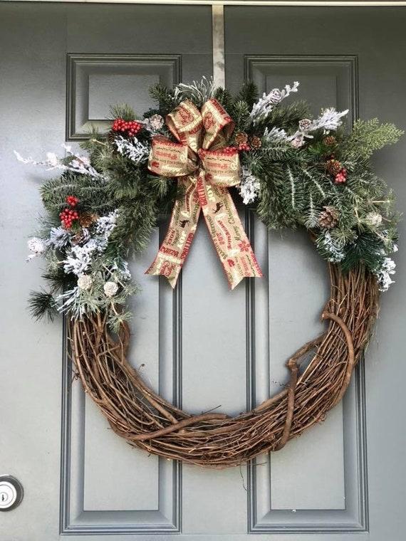 Christmas Wreath For Front Door Christmas Wreath Christmas Etsy