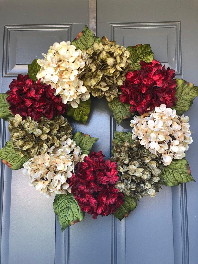 Wreaths for front door fall wreaths Holiday Wreath Christmas Wreath Christmas Wreath For Front Door Hydrangea Wreaths