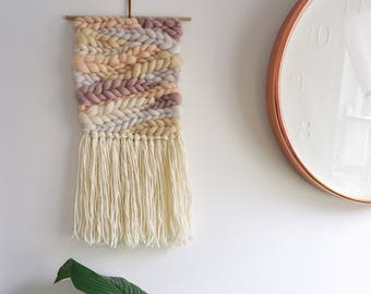 Hand woven wall hanging - blush/nude/neutral braids