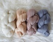 Neutrals Merino Roving Bundle 100g - wool top/roving for weaving, spinning, felting