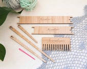 Complete Weaving Tool Kit - 2 x shuttles 4 x needles 1 x weaving comb. Bamboo tapestry tools for easy weaving!
