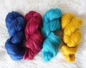 Gemstone Merino Roving Bundle 100g - wool top, weaving, spinning, felting