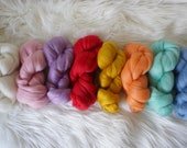 Rainbow Merino Roving Bundle 200g - wool top, weaving, spinning, felting