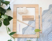 Medium Bamboo Weaving Loom Starter Kit - includes loom, needle, comb and cotton warp