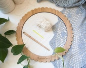 Large Round Bamboo Weaving Loom Starter Kit - includes loom, needle and cotton warp. Learn to weave on a circular frame loom