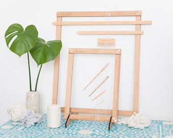 Ultimate Adjustable Weaving Loom Kit - includes big mama and lil sista weaving looms, tools and cotton warp - adjustable, 6 in 1 loom
