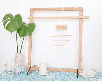 The Big Mama Bamboo Weaving Loom Kit - comes with Tools and Cotton Warp - adjustable loom, 2 in 1, portable, lightweight