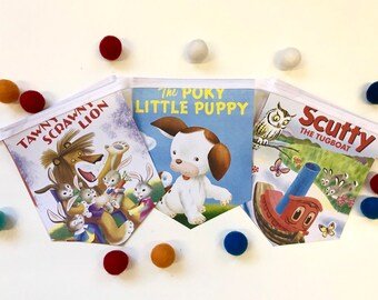 Bunting The Large and Growly Bear Little Golden Book Storybook Banner Garland