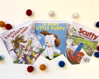 Classic Golden Book Baby Shower - Book Baby Shower Banner - Little Golden Book Baby Shower - Poky Puppy Baby Shower Decoration - Red Caboose
