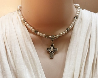 First Communion Necklace. Cross and Chalice  Necklace. White Necklace for First Communion. Chalice Communion Necklace. Communion Gift. #HC11
