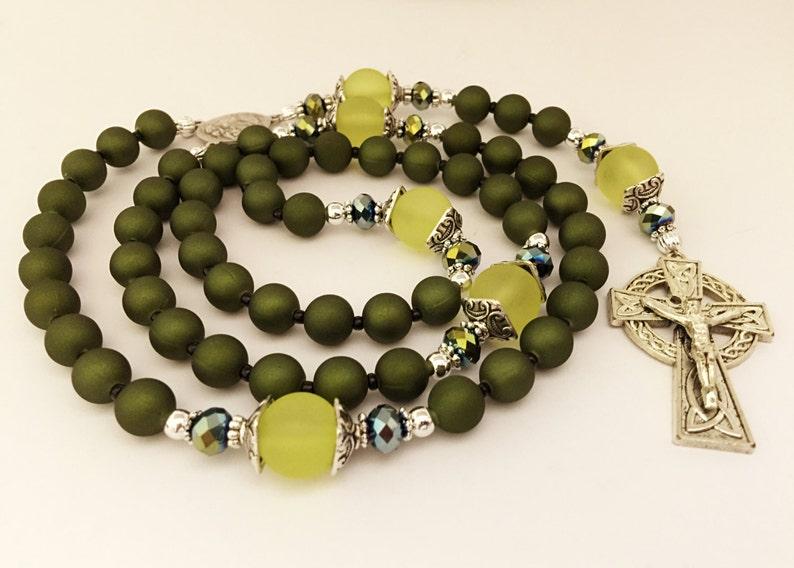 36de3c0d9ed Green Catholic Rosary. Celtic Cross Rosary. St Francis Rosary. | Etsy