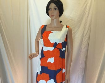 Vintage 50s 60s Malihini Hawaii Designers Collection Maxi Dress Orange and Blue Floral Sleeveless