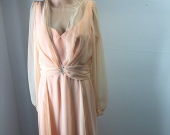 8766ecb1777 Vintage 70s Womens Peach Evening Gown Formal Dress Gauzy Long Sleeves  Rhinestones Accents ILGWU