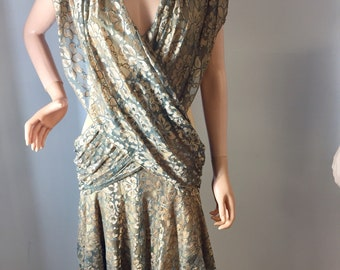 c811636cad Vintage 70s Climax by David Howard RARE Bronze Metallic Lace Dress V Neck  Asymmetrical Hem Inner Gold Layer