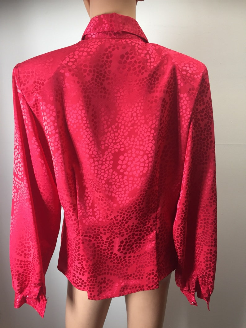 Vintage Notations Womens Red Blouse Ruffled Front Long Sleeves Polyester Top Button Front 6