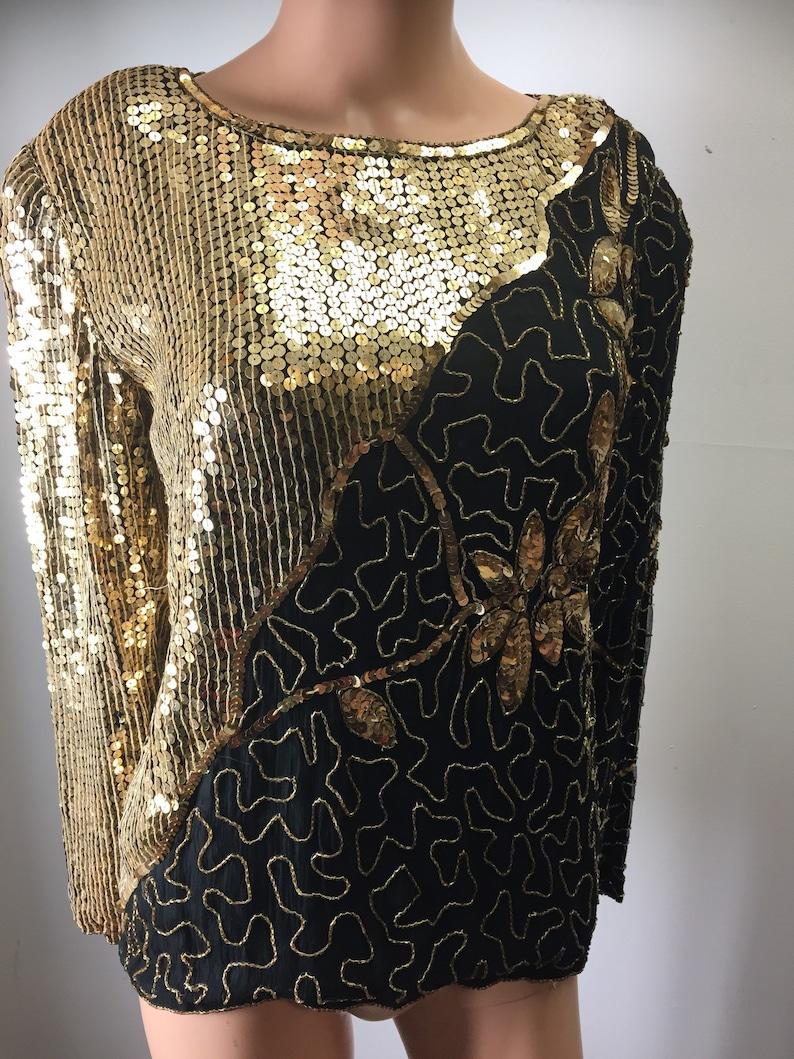 c35077e446 Vintage Jean for Joseph Le Bon Sequined Silk Top Blouse Black