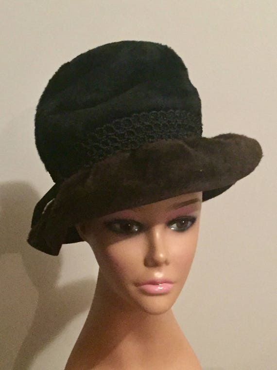 Vintage Hat 60s Schiaparelli Paris Black and Brown