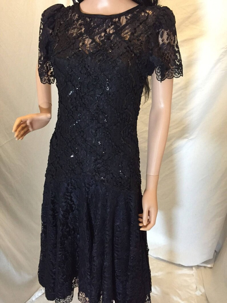 544d4fb6385 Vintage HW Collections Black Lace Cocktail Dress Tagged 7 8