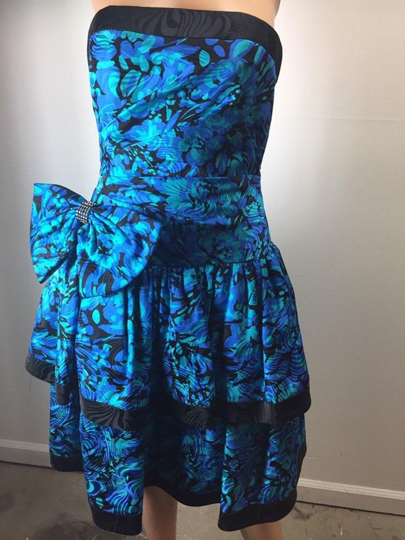 f1cec15e1e Vintage 80s AJ Bari Strapless 100% Silk Blue Teal Black Dress