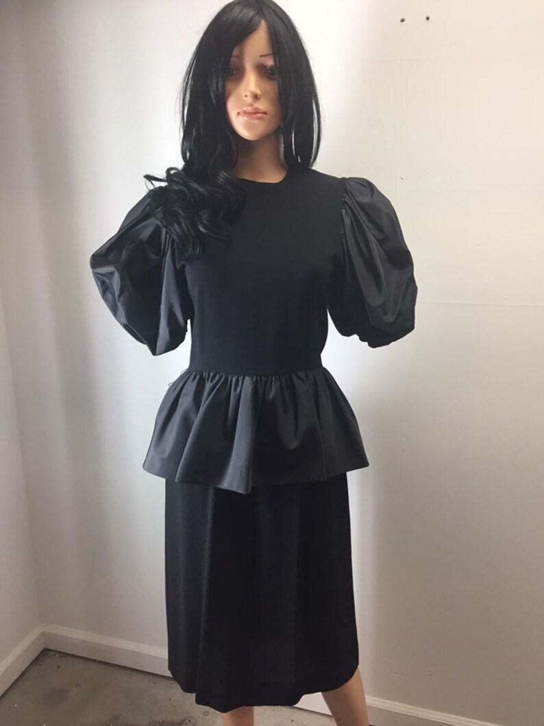 e0ac75ddc7 Vintage 80s Bill Blass Collection III Black Cocktail Dress