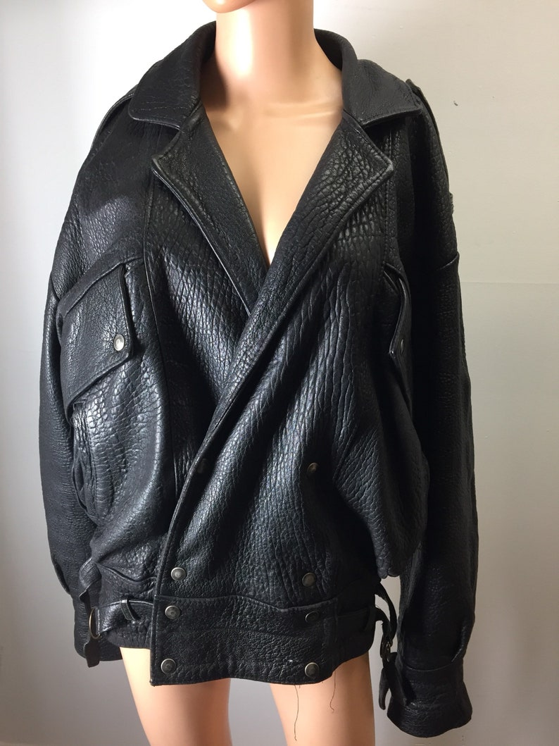 0f3d7eeee05a94 Vintage Armand Thiery French Designer Heavy Black Leather Jacket Motorcycle  Rocker Distressed RARE