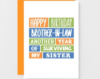 Funny Brother In Law Birthday Card Sarcastic For Family Joke Personalised Blank SE0181A6