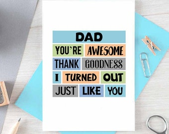 Funny Father's Day Card | Dad Birthday | For Him | Thank You Dad | Funny Dad Card | Just Because | Fathers Day | Humour | Blank | SE0161A6