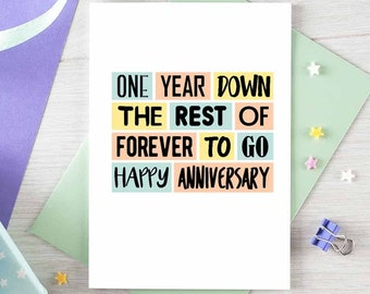 First Anniversary Card   Wedding Anniversary   1st Anniversary   Husband   Wife   Happy Anniversary   Gay Anniversary   Blank   SE0217A6